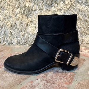 Black Leather Buckle Ankle Bootie Boots  s…